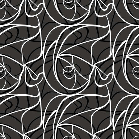 monotone: Dynamic floral abstract background. Seamless pattern. Vector.