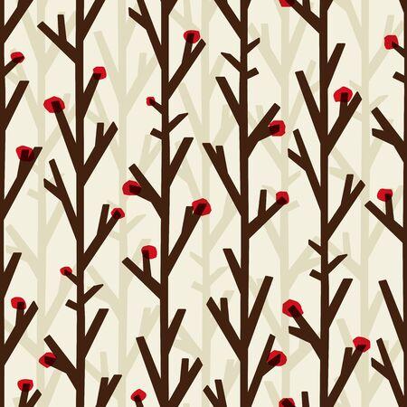 Autumn tree background. Seamless pattern. Vector.