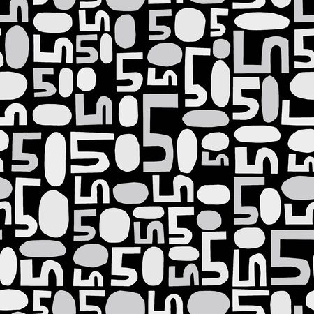 multiply: Numbers five and zero background. Seamless pattern. Vector.