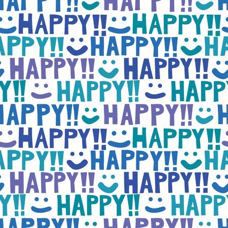 caras felices: Fondo feliz de caras sonrientes. Patrón sin fisuras. Vector.