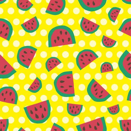 Cute watermelon background. Seamless pattern. Vector. Illustration