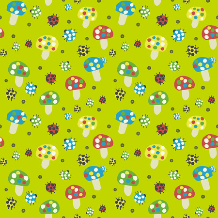Mushrooms and ladybug background. Seamless pattern. Vector.