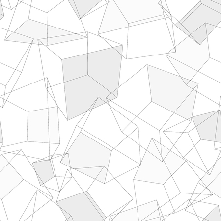 solid line: 3D geometric background. Seamless pattern. Vector.