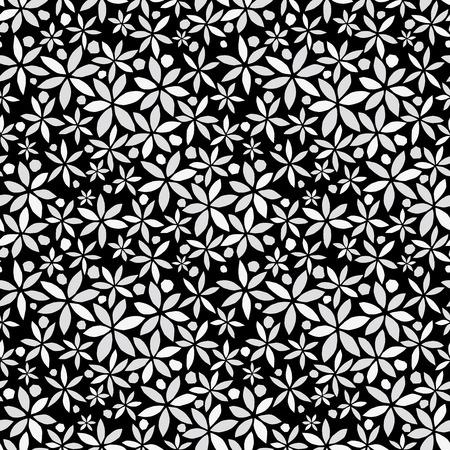 black and white background: Flower background. Seamless pattern. Vector.