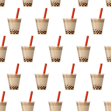 Bubble tea background. Seamless pattern vector.