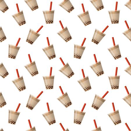 Fondo de té de burbujas. Vector de patrones sin fisuras. Ilustración de vector