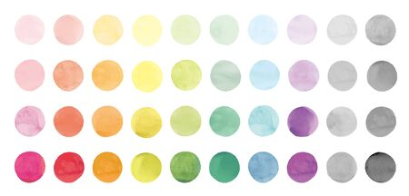 Set of Watercolor Icons. Circle.