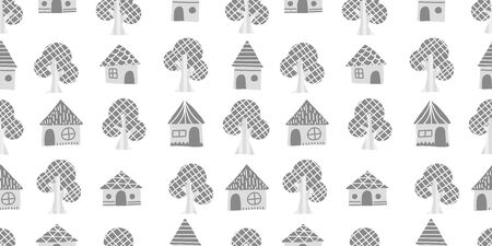 Tree and House background. Seamless pattern. Vector. Ilustracja