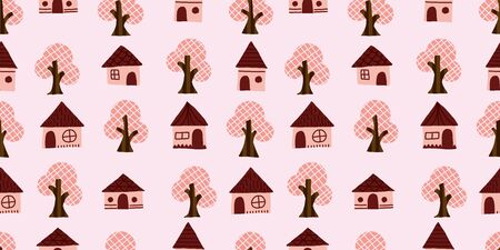 Tree and House background. Seamless pattern. Vector. Ilustrace
