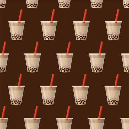 Bubble tea background. Seamless pattern. Vector. Wide. Иллюстрация