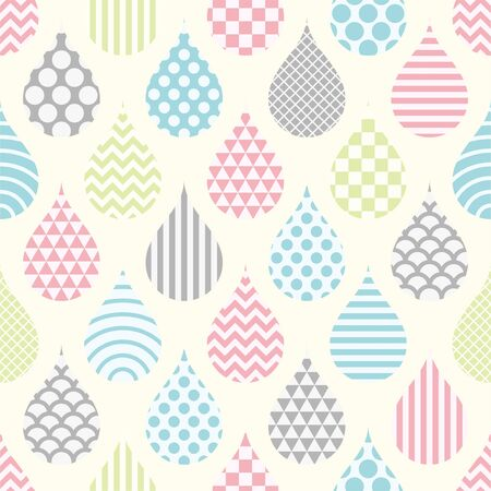 Rain Drops background. Seamless pattern. Vector. Wide.