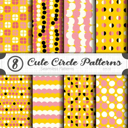 Seamless vector pattern set. Cute circle background.