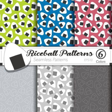 Seamless vector pattern set. Rice-ball background. Ilustracja