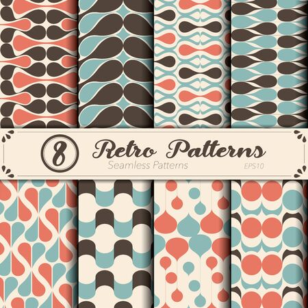 Seamless vector pattern set. Retro background.