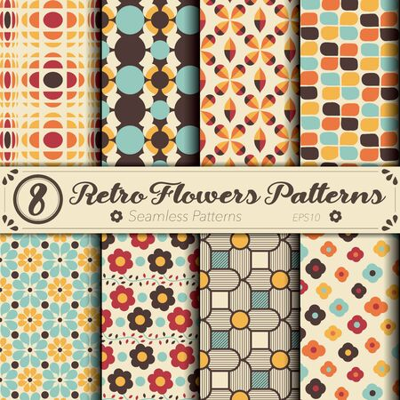 Seamless vector pattern set. Retro flowers background. Ilustrace