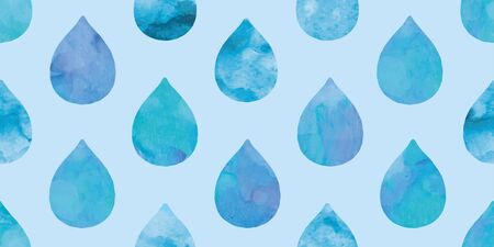 Watercolor water drops background. Seamless pattern. Vector.