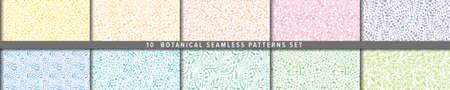Seamless vector pattern set.  Botanical motif, nature motif background.
