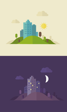 lodger: Flat design day and night sity illustration