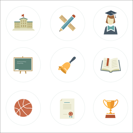 school icons: modern flat style school icons Illustration