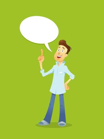 mobile cartoon: Cartoon illustration business manager idea vector character