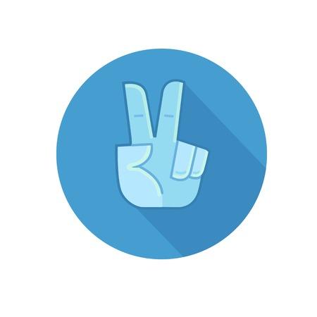 comunicacion no verbal: La mano que muestra el número dos o el gesto de la victoria. Icono de vector plana. De color azul