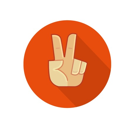victory sign: Hand showing number two or victory gesture. Flat vector icon Illustration