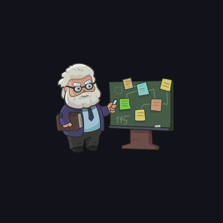 old man standing: Professor character designs on the chalkboard Illustration