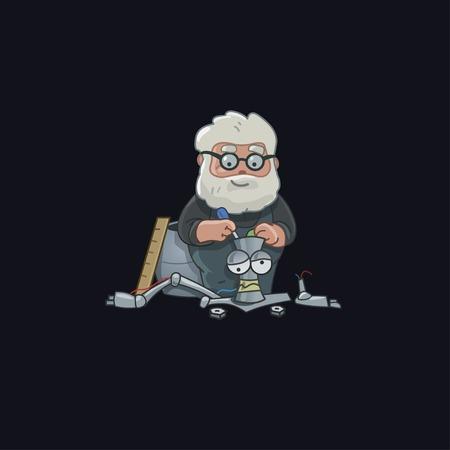 school computer: Professor character design robot vector illustration