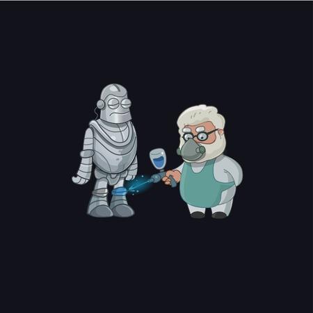 lab technician: Professor character paint robot. Professor invent. Vector illustration
