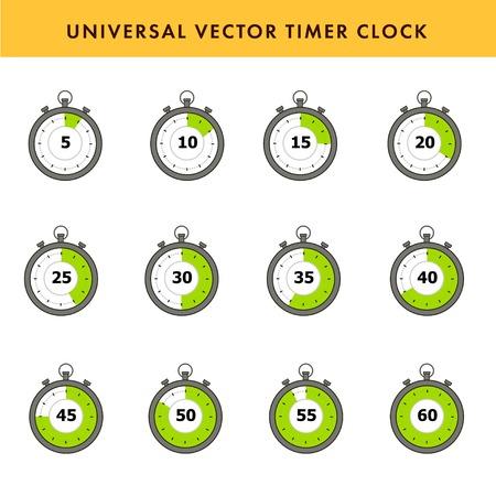 Set of simple timers. Vector stroke symbols. Vector