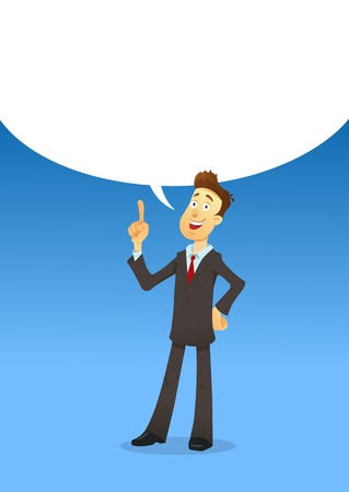 Businessman character says bubble. Vector illustration