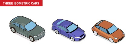 Three isometric image of a car. Vector. Background. Vector
