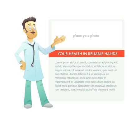 physiotherapist: Portrait medical doctor on advertisement board. Character illustration. Vector Illustration