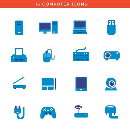 communications tower: Blue computers device icons. Vector pictograms Illustration
