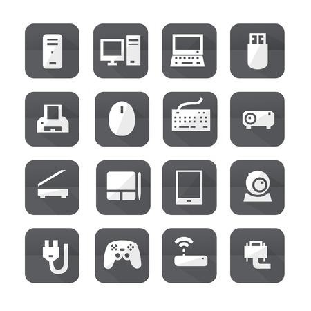 communications tower: Gray computers device icons. Vector pictograms Illustration