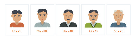 Set of people different generations. Vector icons. Male