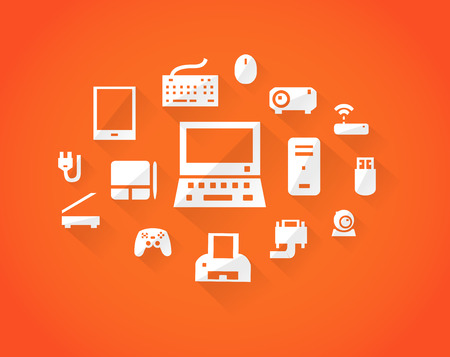 communications tower: Orange computers device icons. Vector pictograms
