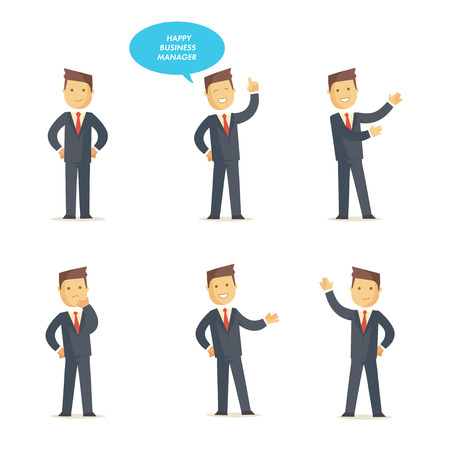 sociologist: Businessman manager set in different interactive poses. Vector character