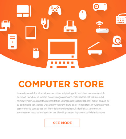 handheld device: Orange computers device icons. Banner for store. Vector pictograms