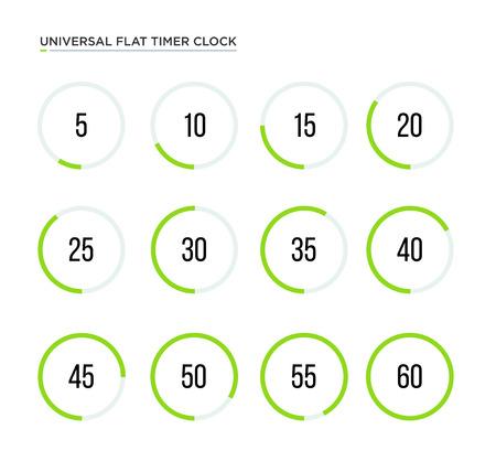 Set of simple flat timers. Vector stroke symbols. Trandy design Vector