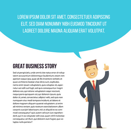 Businessman character says bubble. Vector illustration. Banner or article