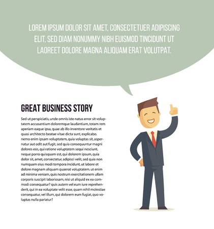 article: Businessman character says bubble. Vector illustration. Banner or article