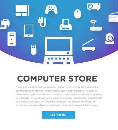 Blue computers device icons. Banner for store. Vector pictograms Vector