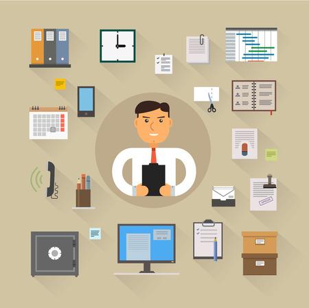 Bedrijven iconen set collectie van moderne, eenvoudige, vlakke en trendy. Vecor Illustratie