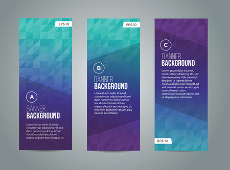 Abstract banner design, gradient triangle style. Vector Vectores