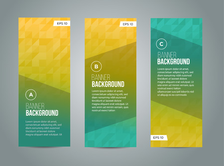 Abstract banner design, gradient triangle style. Vector Çizim