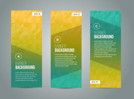 Abstracte banner ontwerp, gradiënt driehoek stijl. Vector