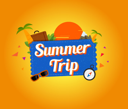 travel logo: Summer trip logo design. Vector illustration