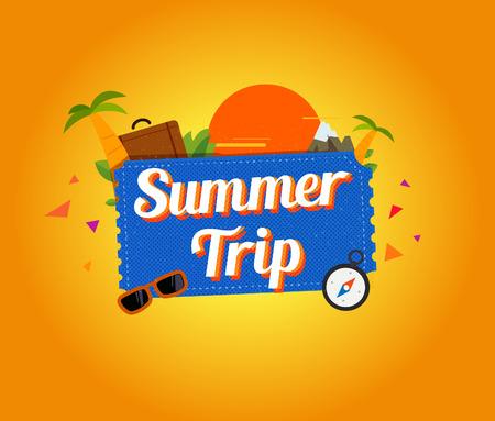 logotipo turismo: Verano de diseño de logotipo viaje. Ilustración vectorial Vectores