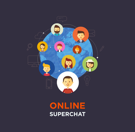 chat group: Online chat social media illustration. Vector Illustration